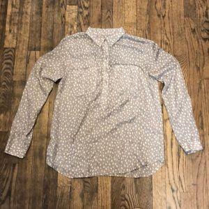 Ann Taylor Loft Gray 'Heart' Blouse Size small